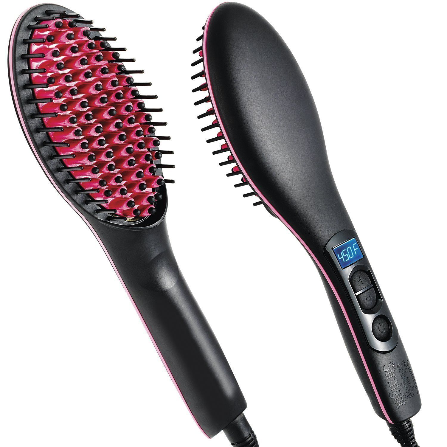 Bronson Professional Simply Straight / Straight Artifact Ceramic Hair Straightening Brush - Black / Pink