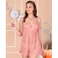 Amante Lace Sweetheart Neckline Babydoll - Pink