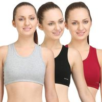Bodycare Sports Bra In Grey-Black-Maroon Color (Pack of 3)