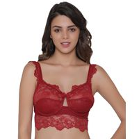 Clovia Lace Non-Padded Underwired Bralette - Maroon
