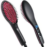 Bronson Professional Simply Straight / Straight Artifact Ceramic Hair Straightening Brush - Black / Pink
