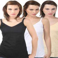 Bodycare V-Neck Camisole In Black-Skin-White Color (Pack Of 3)