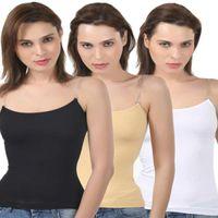 Bodycare Body Hugging Camisole In Black-Skin-White Color (Pack Of 3)