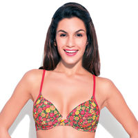 Enamor Padded Meidum Coverage Bra - Button Rose Print