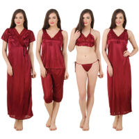 Fasense Women Satin Nightwear 6 PCs Set of Long Wrap, Nighty, Top, Capri, Bra & Thong - Maroon