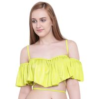 La Intimo Ruffle Buffle Cold Shoulder Bra - Green