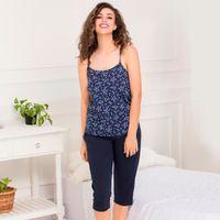 Clovia Cotton Rich Floral Print Top & Capri Set - Blue