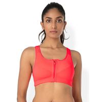 PrettySecrets Zip-Front Sport Bra - Orange