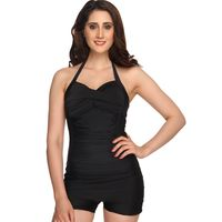 Nidhi Munim India Black Sweetheart Boy Leg Swimsuit