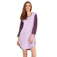 Clovia Cotton Comfy Nightdress In Dark Purple