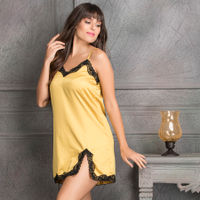 Clovia Satin Babydoll With Lace - Yellow