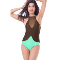 PrettySecrets High Neck Swimsuit - Green, Brown