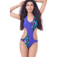 PrettySecrets Bare Back Cross Over Monokini - Purple, Multi Colour / Print