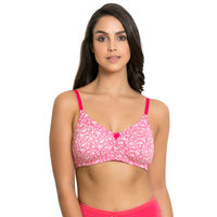 Zivame Rosaline Soft Cotton Side Panel Lace Bra - Pink N Print