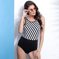 Clovia Striped One-Piece Swimsuit With Scoop Back - Multi-Color