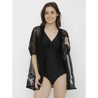 Heart 2 Heart V Cut Swimsuit With Lacy Cape - Black