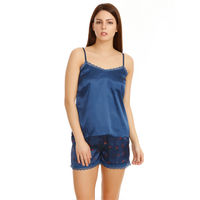 Zivame Satin Chic Top N Shorts Set - Navy