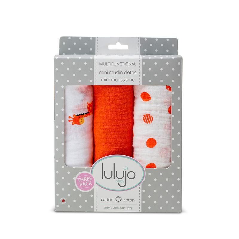 Lulujo Baby Giraffes Organic Cotton Mini Muslin Cloth Pack Of 3 - Orange
