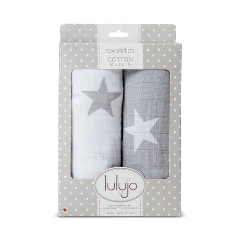 Lulujo Baby All-In-One Organic Cotton Swaddle / Blanket/ Muslin Cloth-Grey Star