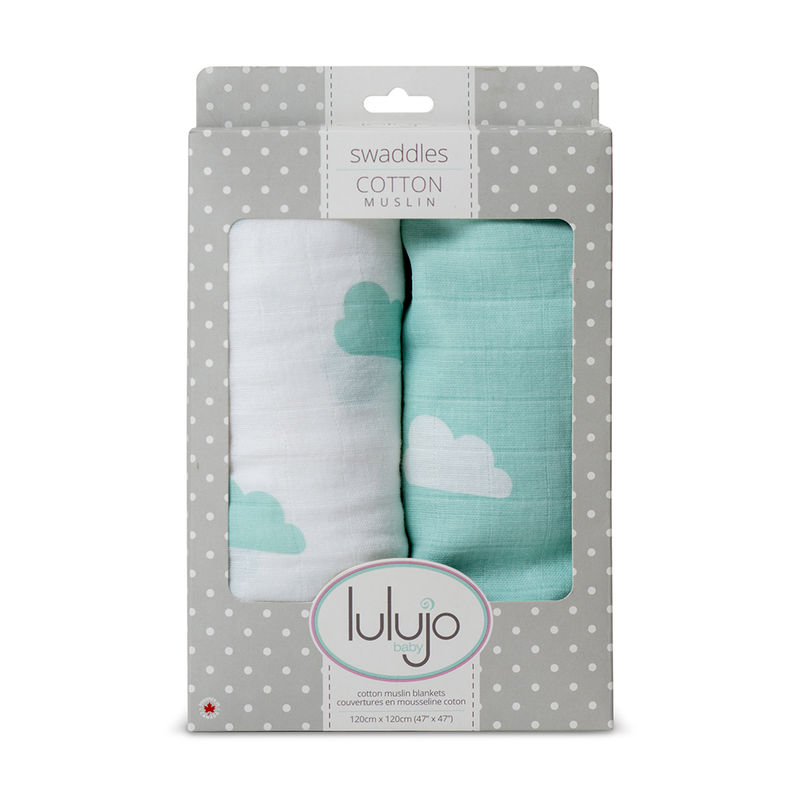 Lulujo Baby All-In-One Organic Cotton Swaddle/ Blanket /Muslin Cloth- Aqua Clouds
