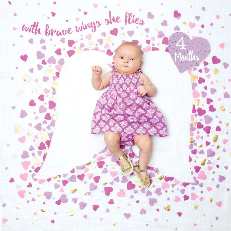 Lulujo Baby Muslin Blanket & Milestone Cards Set - With Brave Wings