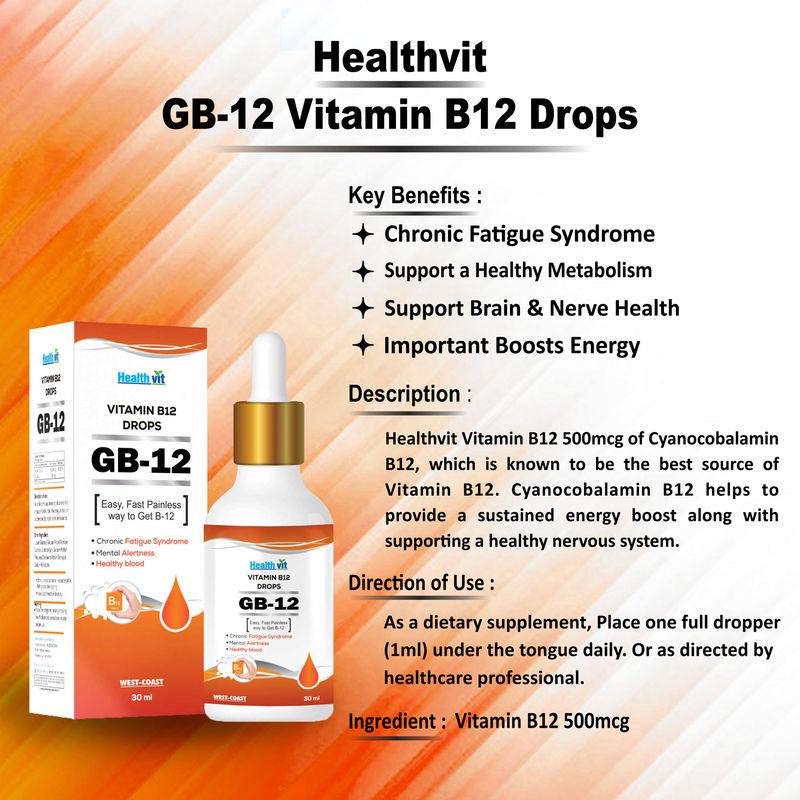 promo code fc593 2885c HealthVit GB-12 Vitamin B12 500mcg Liquid Drops at Nykaa.com
