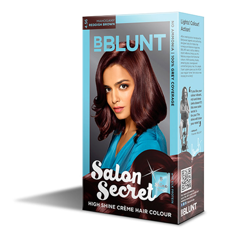 BBLUNT Mini Salon Secret High Shine Creme Hair Colour - Mahogany Reddish Brown 4.56 (Off Rs.4)