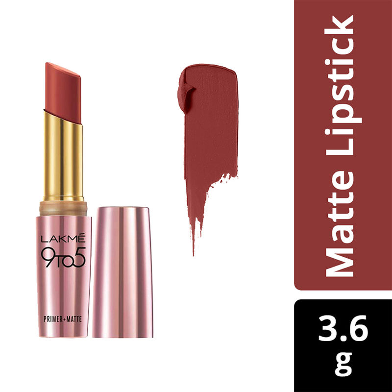 Lakme 9 to 5 Primer + Matte Lip Color - MR4 Cherry Chic(3.6gm