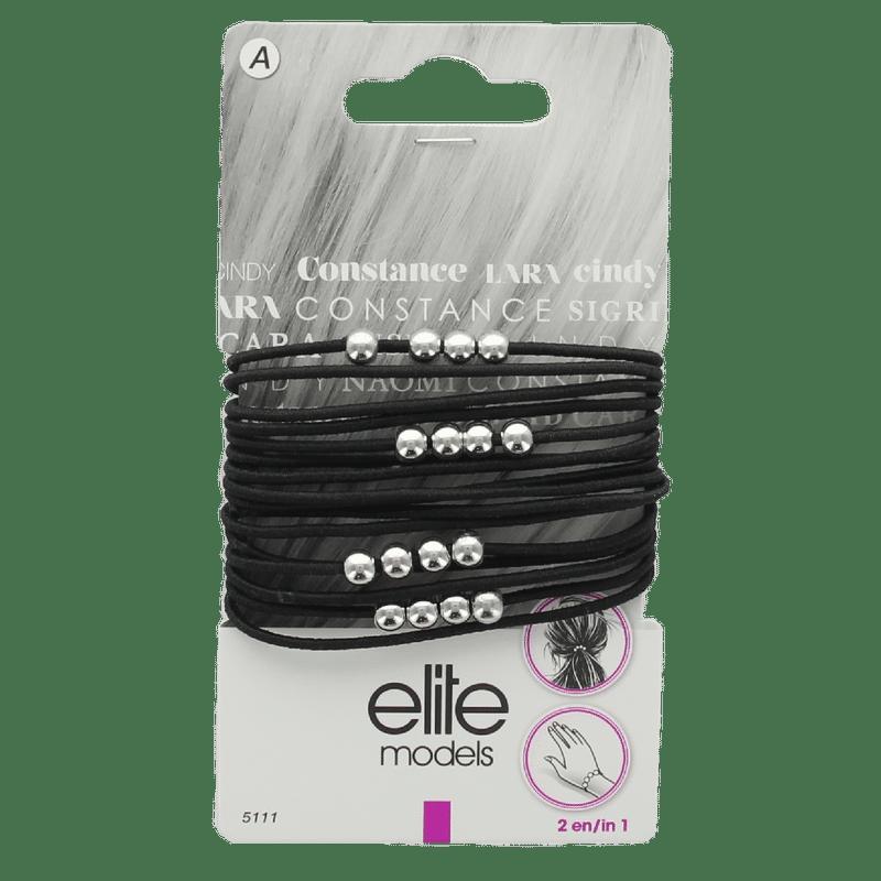 Elite Models (France) Fashion Ponytail Hair Rubber Bands (16 Pc Set) - Black