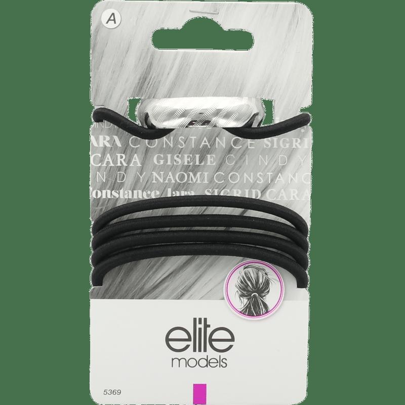 Elite Models (France) Fashion Ponytail Hair Rubber Bands (5 Pc Set) - Black