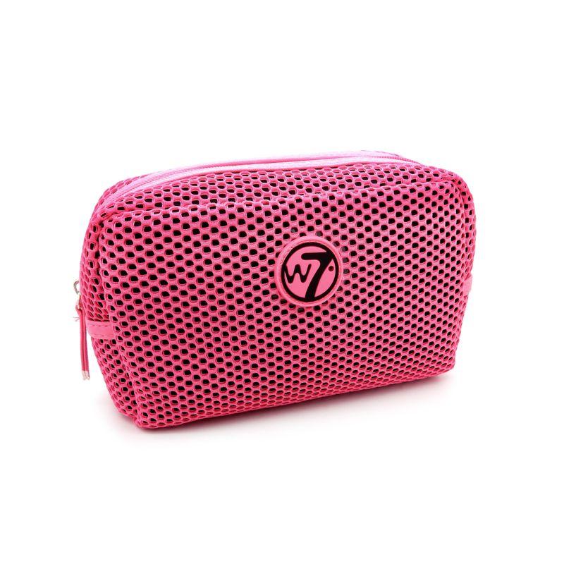 W7 Mesh Medium Cosmetics Bag - Fluorescent Pink