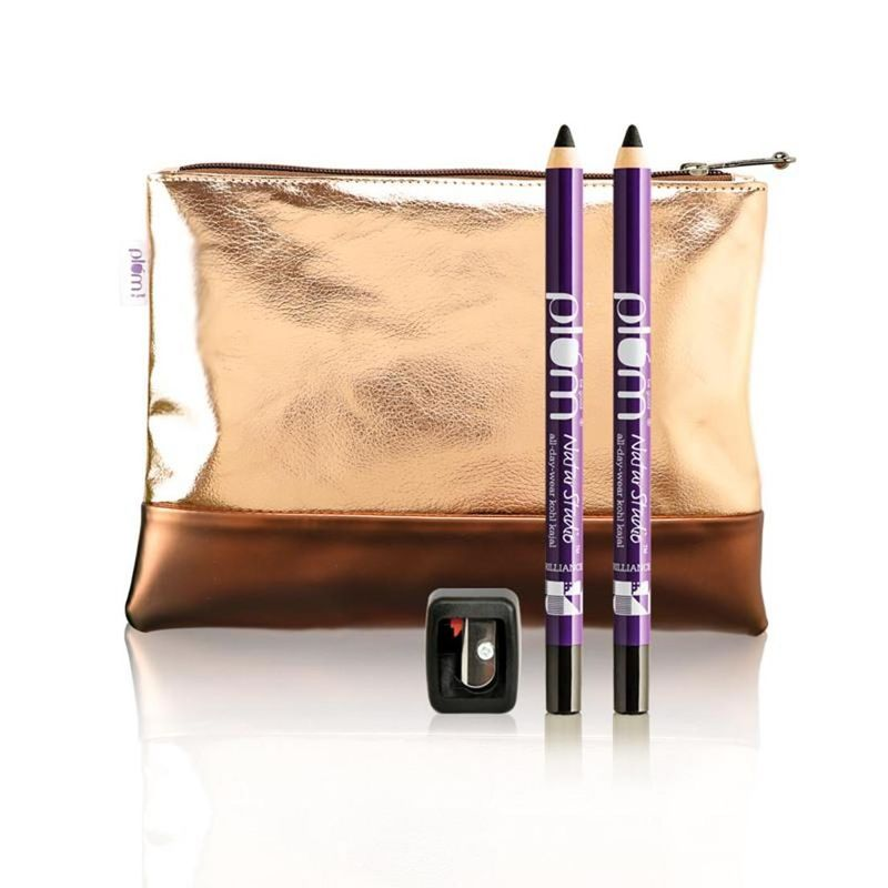 Plum NaturStudio All-Day-Wear Kohl Kajal Twin Pack + Flip Tip Sharpener & Free Bag