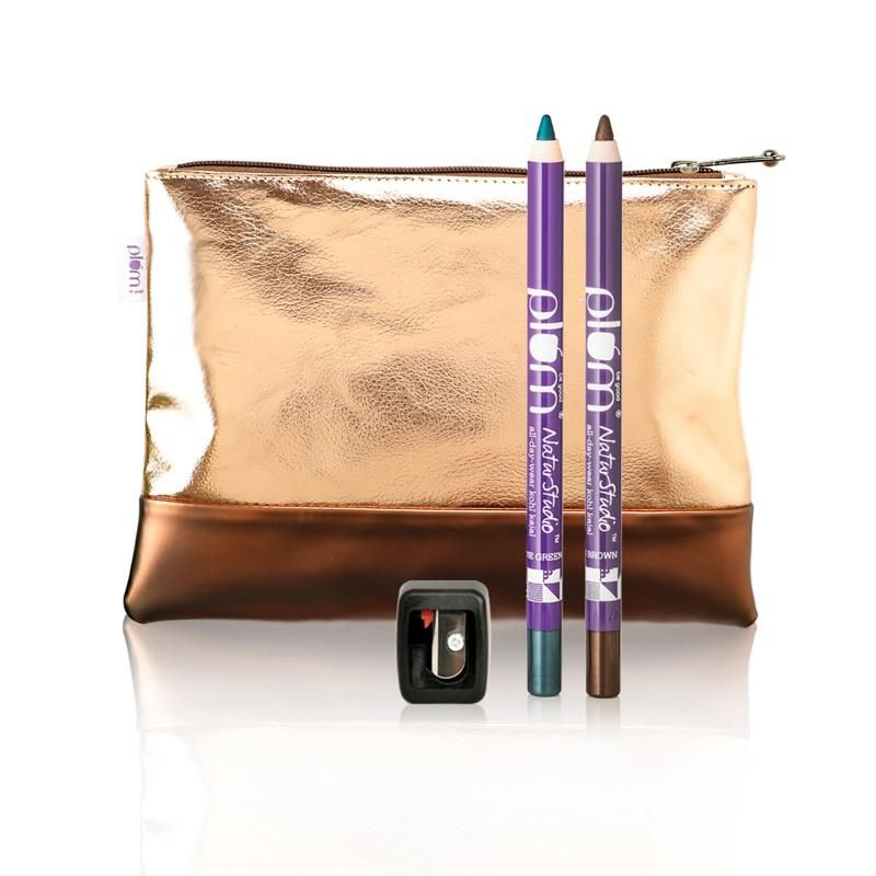 Plum NaturStudio All-Day-Wear Kohl Kajal Green & Brown Twin Pack With Flip Tip Sharpener & Bag Free