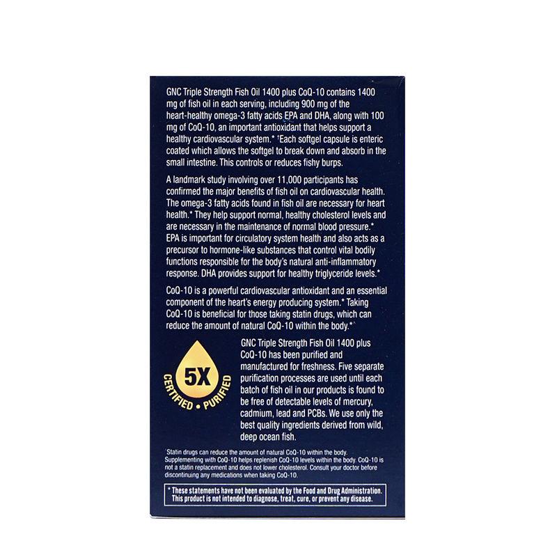 4ef1b19da23d GNC Triple Strength Fish Oil With CoQ10 (60 Softgels) at Nykaa.com