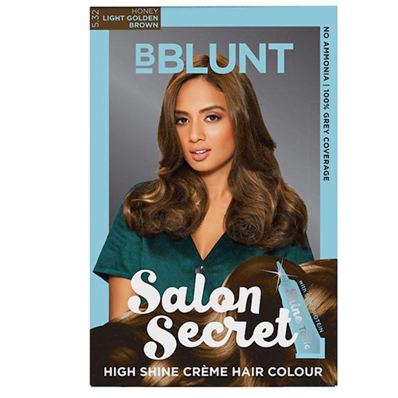 BBLUNT Salon Secret High Shine Creme Hair Colour - Honey Light Golden Brown 5.32