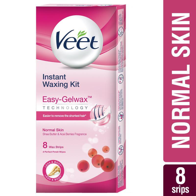 Veet Full Body Waxing Kit Easy-Gelwax Technology Normal Skin - 8 Strips