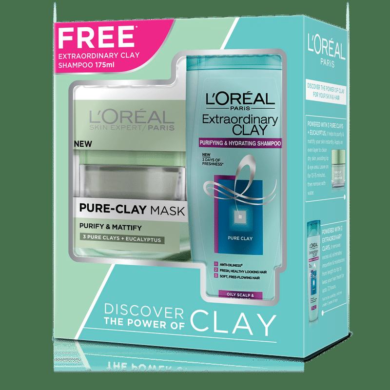 L'Oreal Paris Pure Clay Mask Eucalyptus + Extraordinary Clay Shampoo