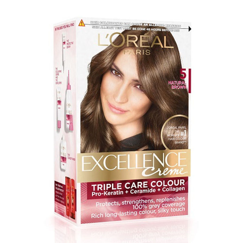 L'Oreal Paris Excellence Creme Hair Color - 5 Natural Brown