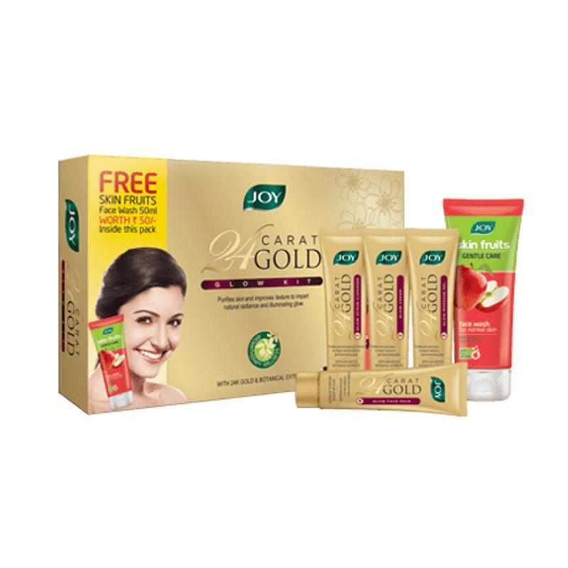 Joy 24 Carat Gold Glow Facial Kit 55(55gm) + Free Joy Skin Fruits Gentle Care Face Wash 50ml
