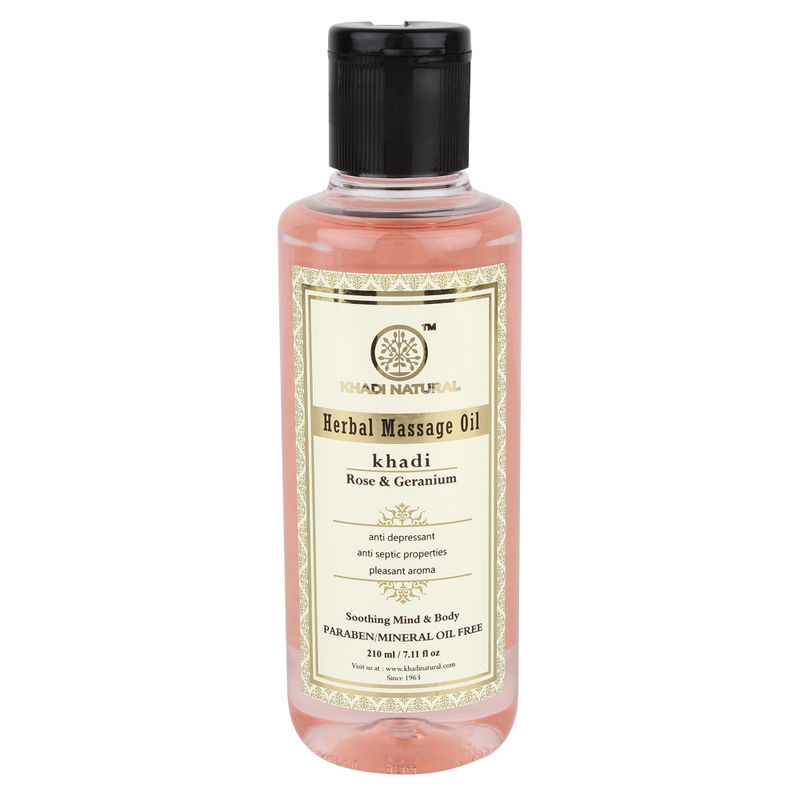 Khadi Natural Rose & Geranium Herbal Massage Oil Paraben Free
