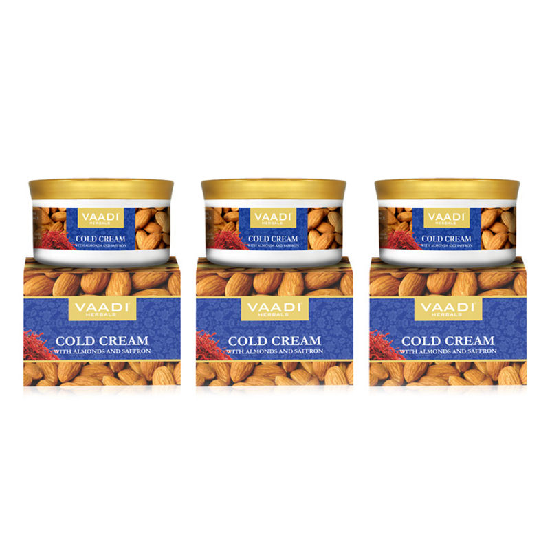 Vaadi Herbals Value Pack Of 3 Cold Cream With Almonds & Saffron