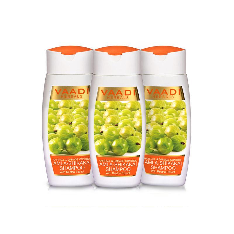 Vaadi Herbals Value Pack Of 3 Amla Shikakai Shampoo - Hairfall & Damage Control