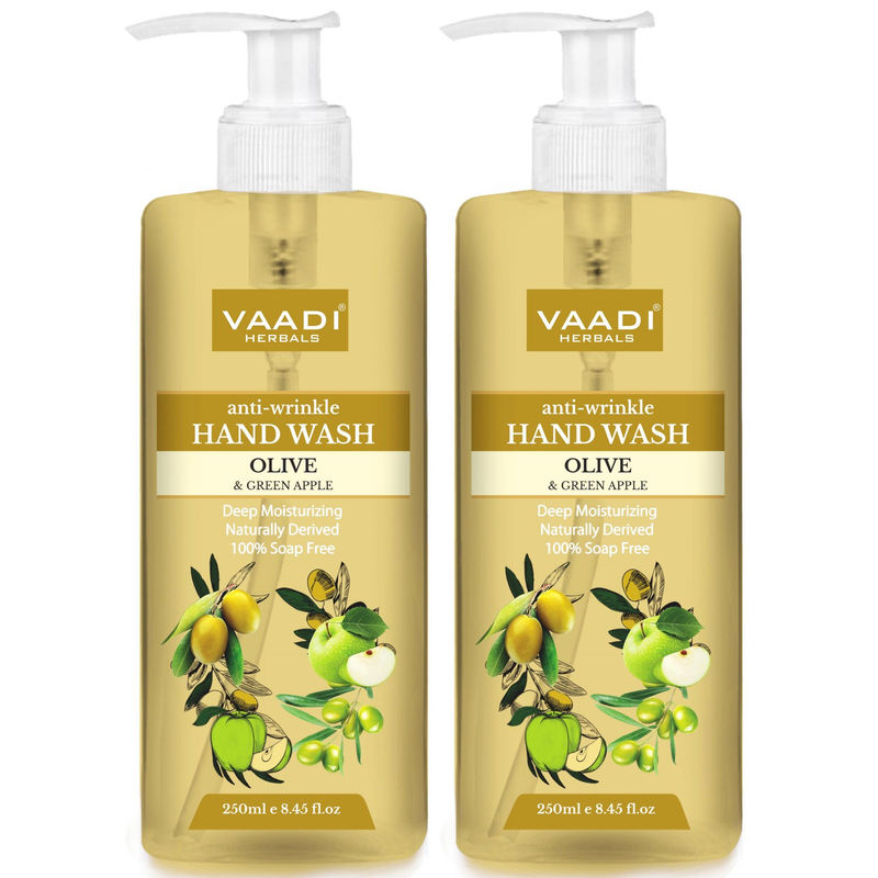 Vaadi Herbals Anti - Wrinkle Olive And Green Apple Hand Wash - Pack Of 2