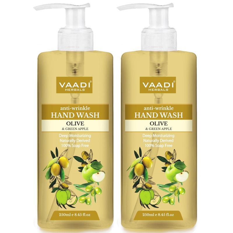Vaadi Herbals Anti - Wrinkle Olive And Green Apple Hand Wash - Pack Of 2