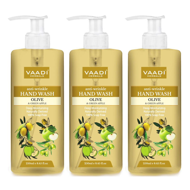 Vaadi Herbals Anti - Wrinkle Olive And Green Apple Hand Wash - Pack Of 3
