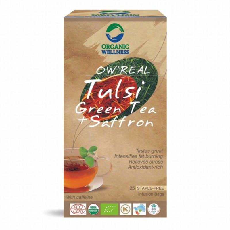 Organic Wellness Real Tulsi Green Tea + Saffron
