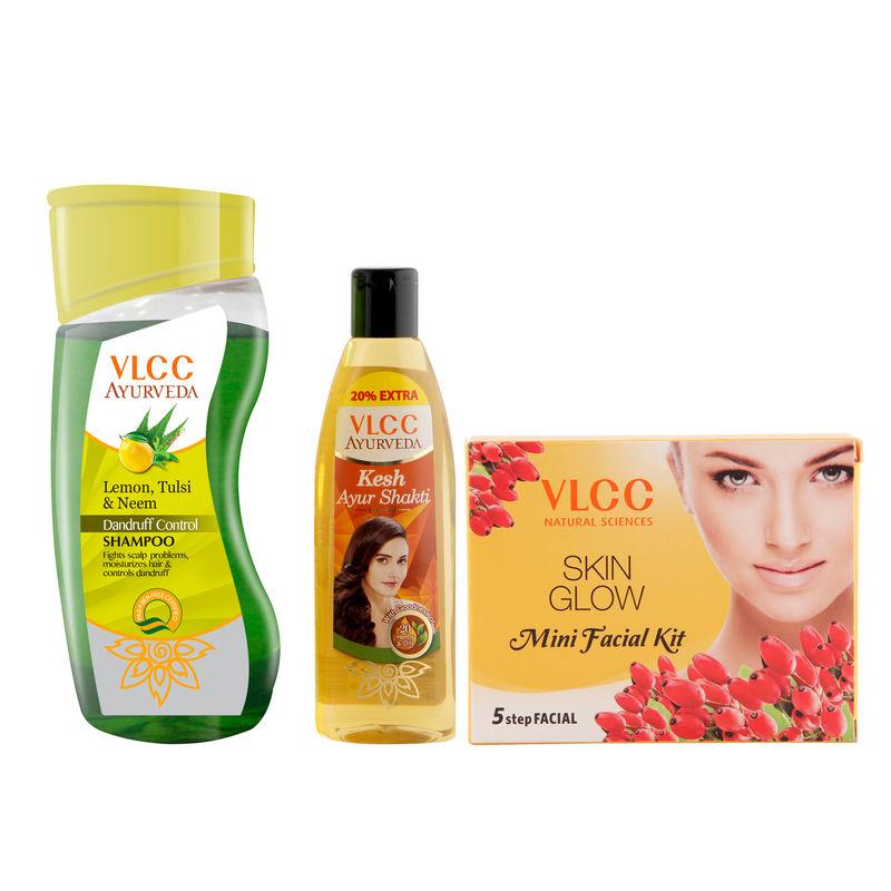 VLCC Ayurveda Shampoo Dandruff Control & Ayurveda Hair Oil & Facial Kit Combo