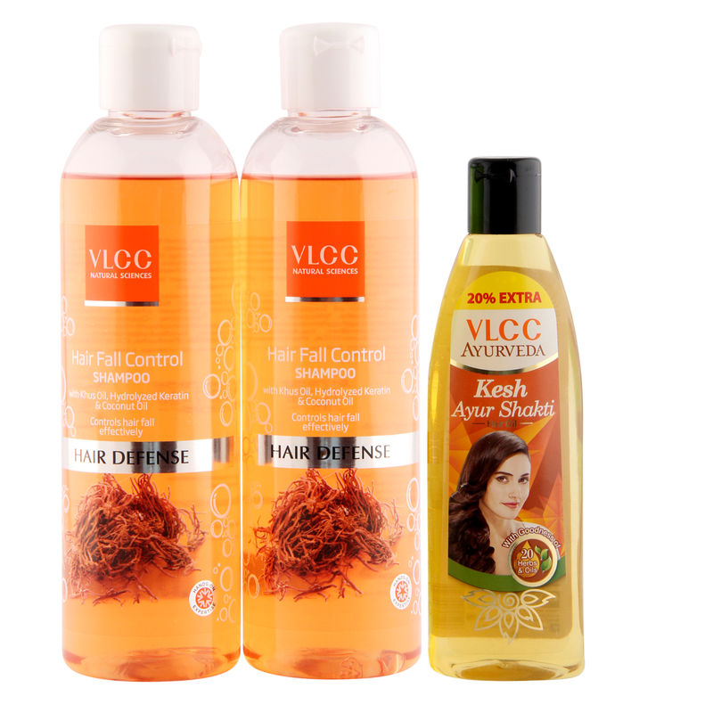 VLCC Hair Fall Shampoo & Ayurveda Hair Oil Combo