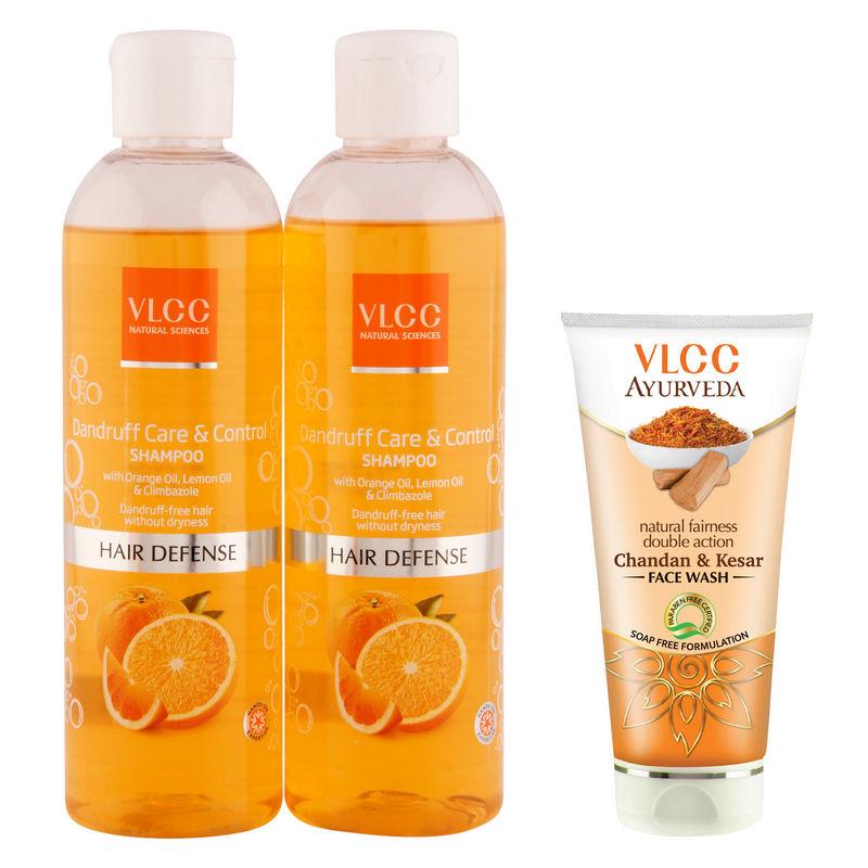 VLCC Dandruff Shampoo & Kesar Chandan Face Wash Combo - 800 Ml