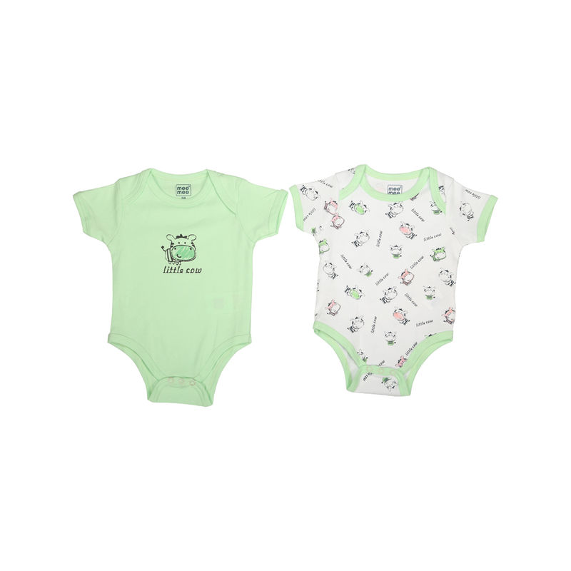 Mee Mee Baby Bodysuit - Green & White Pack Of 2
